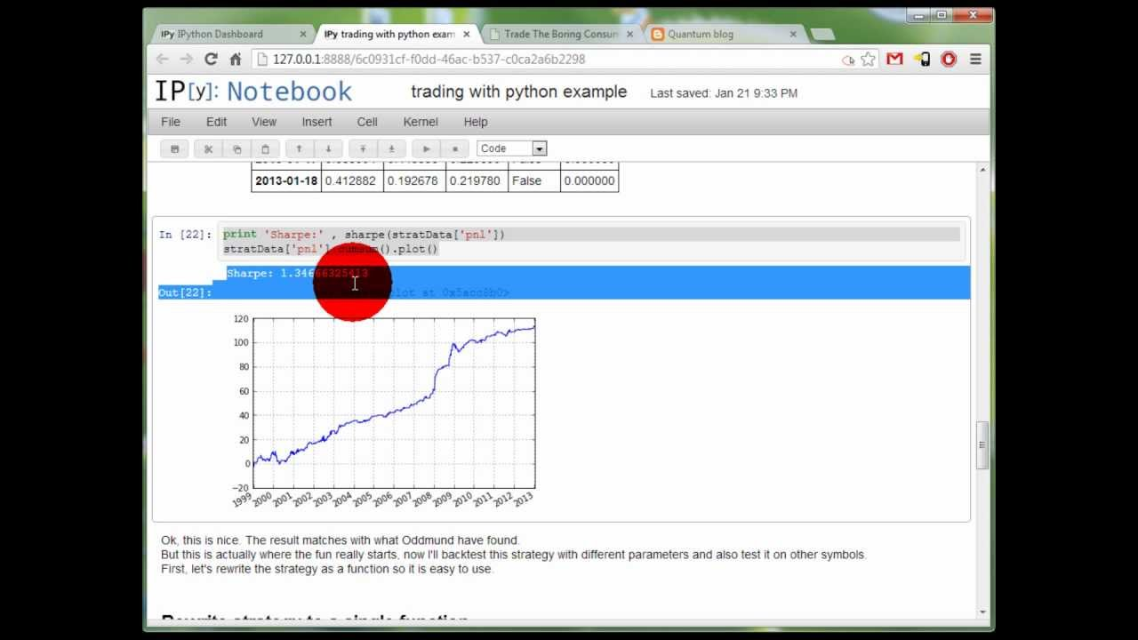 Trading With Python - example strategy backtest - Xtreme